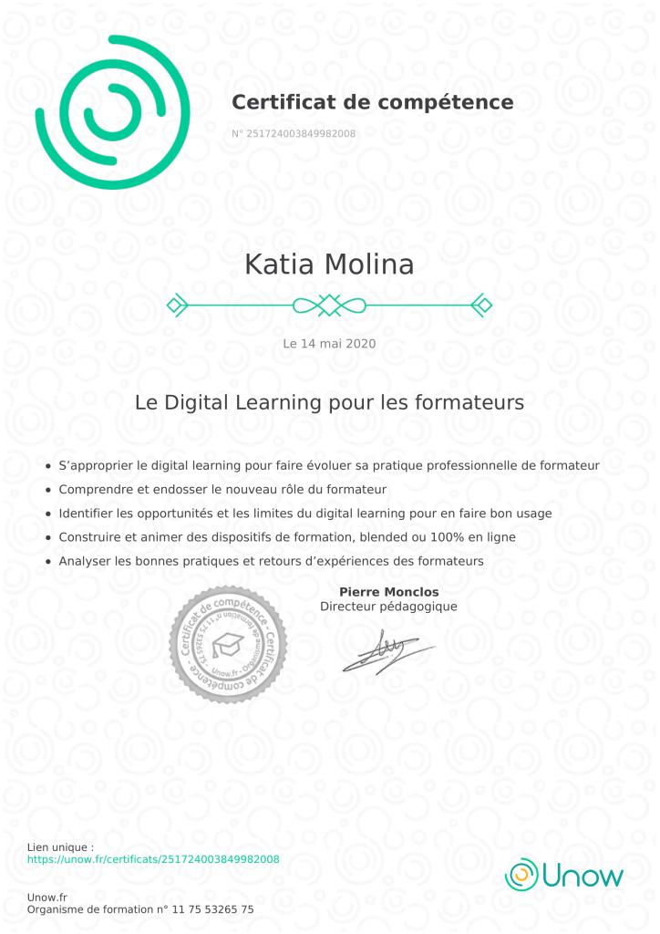 Certificat de compétence Digital learning pour les formateurs